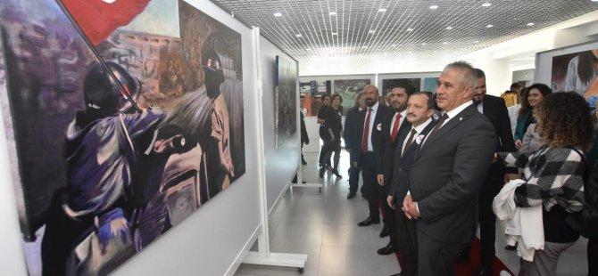 """""""Kıbrıs Türklerinin Varlık Mücadelesinin Sanatsal İzleri"""" temalı karma sergi Ekonomi ve Enerji Bakanı Hasan Taçoy Tarafından açıldı"""