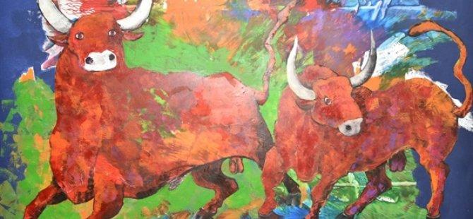 Kazakistanlı üç sanatçının sergileri Bakan Üstel tarafından açıldı