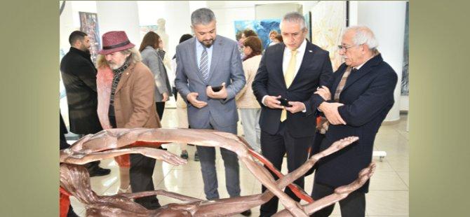Taçoy, Kıbrıs Modern Sanat Müzesi için hazırlanan sergilerin açılışını yaptı