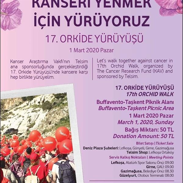 Kanser araştırma vakfı (KAV) halkı yarın düzenlenecek 17. Orkide yürüyüşü'ne davet etti