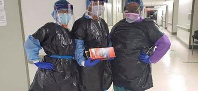New York'taki hemşireler virüsten korunmak için çöp poşeti giymek zorunda kaldı