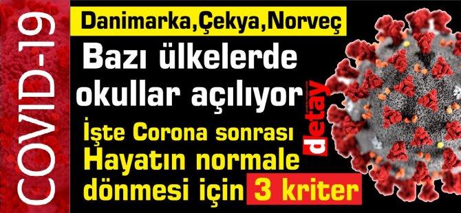 Corona sonrası Hayatın normale  dönmesi için 3 kriter