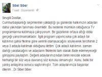 Sibel Siber'den çok adaylı programa katılmaya ret!
