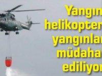 Yangın helikopteri yakıt takviyesi için Ercan'da