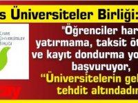 """Kıbrıs Üniversiteler Birliği:''Öğrenciler harç yatırmama, taksit öteleme ve kayıt dondurma yollarına başvuruyor,""""üniversitelerin geleceği tehdit altındadır"""""""