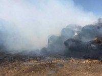Gaziköy ağıllar bölgesinde çıkan yangında bin 500 adet rulo balya yandı
