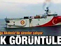 NAVTEX ilan edilen Oruç Reis'ten ilk görüntüler (VİDEO HABER)