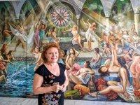 Drozdova, Kıbrıs Modern Sanat Müzesi için yağlı boya tekniğiyle Türk Hamamlarını resmetti