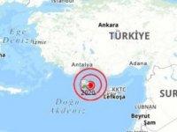 Kıbrıs'ın Kuzey Batısında Denizde Dün Akşam 3.7 Şiddetinde Deprem