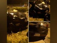 Gazimağusa'da korkutan kaza! Araçlar yüz yüze çarpıştı!