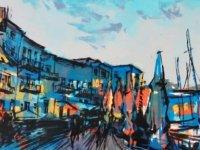 Kıbrıs Modern Sanat Müzesi için, Sanatçı Tetiana Ocheredko  yapıları, sokakları ve antik limanı monotip tekniğiyle resmetti