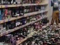500 şişe içkiyi market raflarından alıp yere savurdu; tutuklandı
