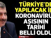 Türkiye'de aşı yapılmaya başlanıyor