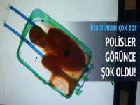 Kaçakcılıkta yeni boyut: Bavuldan çocuk çıktı (video)