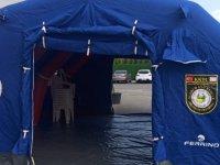 Acil Durum Hastanesi'ne bekleme çadırları kuruldu