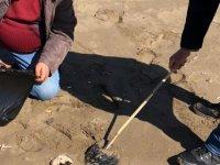 Alagadi sahilindeki katran temizlendi
