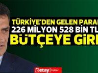 Türkiye'den gelen paranın 226 milyon 528 bin TL'si bütçeye girdi