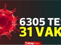 6305 test yapıldı, 19'u yerel 31 pozitif vaka