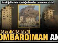 İsrail, düzenlediği hava saldırısı ile Gazze'de bulunan çok katlı 2 binayı vurarak yıktı.