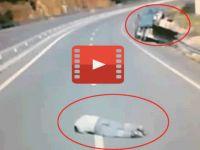 Freni patlayan kamyondan böyle atladı!