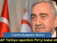 Cumhurbaşkanı Akıncı, AP Türkiye raportörü Piri'yi kabul etti