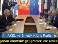 AKEL ve Birleşik Kıbrıs Partisi  yaşanan olumsuz gelişmeleri ele aldılar.