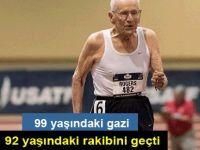 Koşu yarışında 99 yaşındaki gazi, 92 yaşındaki rakibini geçti