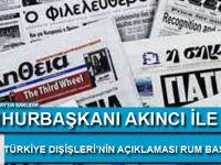 Cumhurbaşkanı Akıncı İle Türkiye Dışişleri'nin Açıklaması Rum Basınında