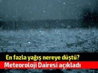 En çok yağış alan bölgeler açıklandı.