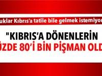 """""""Kıbrıs'a dönenlerin yüzde 80'i bin pişman oldu"""""""