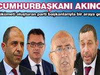 Cumhurbaşkanı Akıncı hükümeti oluşturan parti başkanlarıyla bir araya geldi
