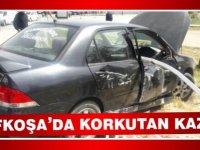 Lefkoşa'da korkutan kaza! Direksiyon hakimiyetini kaybetti korkuluklara çarptı!