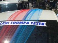 Oğlunun sünnet arabasına 'Kalanı Trump'a yeter' yazdı
