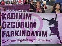 Kadınım, özgürüm, farkındayım sloganıyla kadına şiddete karşı dikkat çektiler