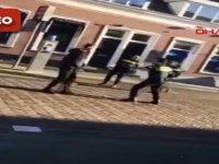 Kendisini gözaltına almak isteyen polisleri hastanelik etti (VİDEO)