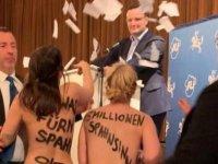 FEMEN, Almanya'da Sağlık Bakanı Jens Spahn'ın konuşmasını bastı