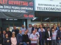 Tel-Sen Güzelyurt Telekomünikasyon Dairesi önünde eylem düzenledi