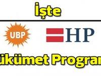İşte UBP-HP Hükümeti Programı