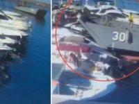Sahil Güvenlik Komutanlığı'na ait çıkarma gemisi limandaki  teknelere çarptı