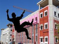 Haspolat'ta iş kazası,10 metre yüksekten düştü