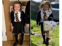Öncesi ve sonrası: 5 yaşındaki Lucie'nin okuldaki ilk günü