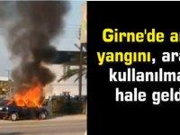 Girne'de araç yangını, araba kullanılmaz hale geldi (video)