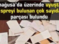 Gazimağusa'da üzerinde uyuşturucu madde spreyi bulunan çok sayıda kağıt parçası bulundu