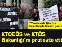 ''Yakalarında Atatürk Beyinlerinde Şeriat'' pankartı ile protesto