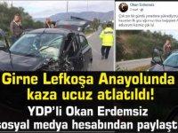 Girne Lefkoşa Anayolunda  korkutan kaza!