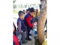 DAÜ Gastronomi öğrencileri ağaçlarda kireçleme çalışması başlattı