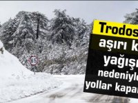 Trodos'ta aşırı kar yağışı nedeniyle yollar kapandı