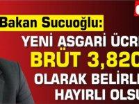 Faiz Sucuoğlu hesabından paylaştı:Yeni asgari ücret brüt 3,820 tl olarak belirlendi. Hayırlı olsun