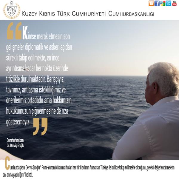 Akdeniz'deki Petrol gerginliği konusunda Cumhurbaşkanlığı resmi facebook sayfasından yayınlanan bilgi notu.