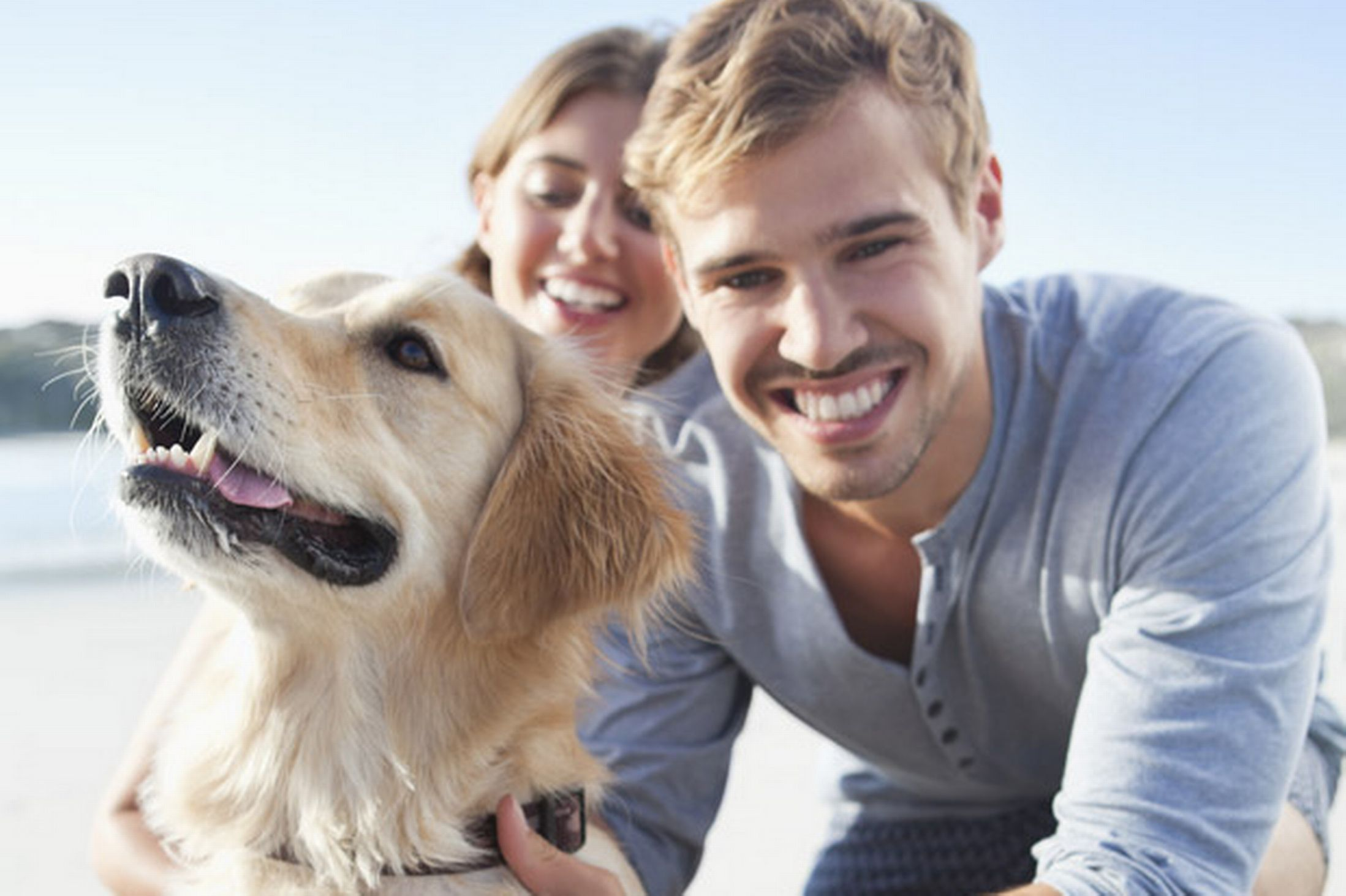 Smiling-young-couple-at-the-beach-with-pet-dog-775001